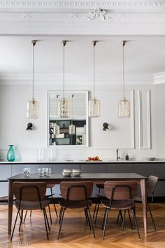 Cuisine ouverte sur salle à manger et salon. Interior Design Living Room, Living Room Decor, Dining Room, Cuisines Design, Kitchen Remodel, Sweet Home, Home Decor, Kitchen Living, New York
