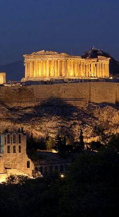 Parthenon at Night..  Acropolis - Athens, Greece