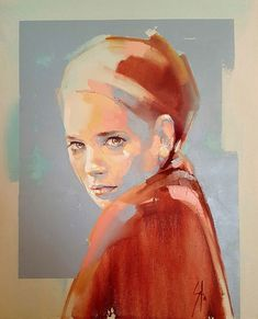 Anna Blou by Solly Smook Abstract Portrait, Watercolor Portraits, Portrait Art, Watercolor Art, Painting Portraits, Painting People, Figure Painting, Painting & Drawing, Painting Inspiration