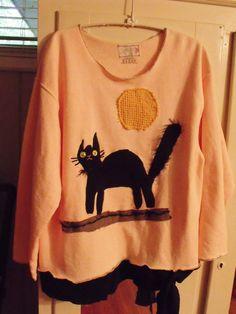 Halloween Spooky Black Cat Upstyled Fleece Shirt by SheerFab, $60.00