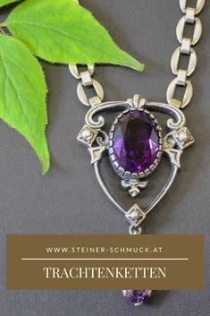 Es ist nicht immer Gold das glänzt. Bei Goldschmiede Steiner ist es Silber und oxidiertes Silber, dass mit liebevoller Handarbeit zu einzigartigem Trachtenschmuck hergestellt wird. Echte Schmucksteine, wie z.B Amethyst und Granat verleihen unseren Trachten Halsketten den modernen Schliff. Schmuck Online Shop, Charmed, Bracelets, Shopping, Jewelry, Fashion, Lilac, Necklaces, Oxidized Silver