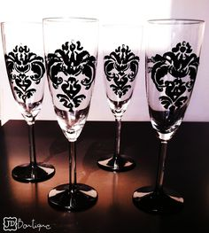 Black Damask champagne glasses - rhinestones - 4 glasses - 25th anniversary - Wedding glassware - Personalized - toasting flutes