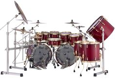 Masterworks Series in a Red Bubinga Burst with gold hardware complete with Demon Chain Pedals and ICON Rack System