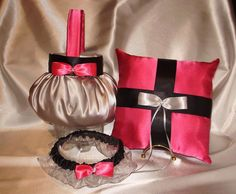 1 Flower Girl Basket, 1 Pillow, 1 garter   YOUR Colors  These lovely items are available in my ebay store  kringle3 and can be custom made in YOU  custom colors. You can add on additional items to any order. Please come and see my store to find the many unique and beautiful items I can create to make your wedding special .