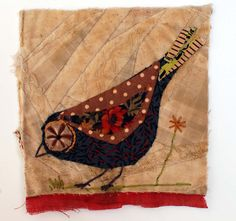 Unframed appliqued bird with embroidery on to vintage crazy quilt scrap on Etsy, Sold