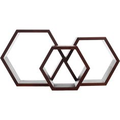 Fab Hex Wall Shelf Set Of 3 Walnut (£27) ❤ liked on Polyvore featuring home, home decor, small item storage and furniture