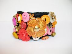 "Statement bracelet embroidered orange pink by internodiciotto, $48.00 LOVELY ITEM HAS BEEN SELECTED TO BE PART OF THE ""LOVE ATTACK DAY"" PROMOTED BY ETSYITALIATEAM"