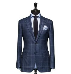 Tailored 2-Piece Suit – Fabric 4339 Glencheck Blue Cloth weight: 280g Composition: 100% Wool Super 120's