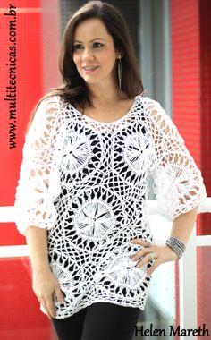 Tunica em crochê de grampo Hairpin lace/ horquilla Receita em: www.multitecnicas.com.br/apostilas