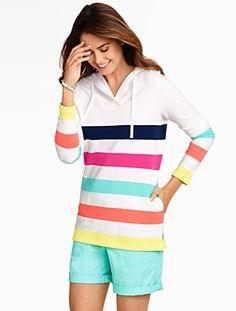 Talbots - Cabana-Stripe Hoodie | Beach Collection | Petites