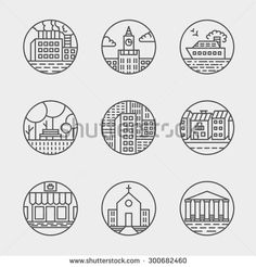 Vector set of thin icons design set. Moder simple line icons. Ultra thin buildings city icons