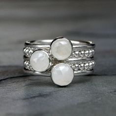 Rose Cut Moonstone Stacking Rings, Sterling Silver, Five Stackable Rings, Bead Bands, Stackable Rings, Stack Set, Natural Gemstone, Dot Ring
