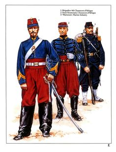 French;1870 L to R Brigadier 4th Chasseurs d'Afrique, sous-lieutenant Chasseurs d'Afrique & Marousin, Marine Infantry.