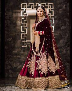 Maroon And Gold Anarkali Lehenga Indian Bridesmaid Dresses, Indian Gowns Dresses, Indian Bridal Outfits, Indian Bridal Fashion, Wedding Dresses For Girls, Indian Fashion Dresses, Latest Bridal Lehenga, Indian Bridal Lehenga, Pakistani Bridal Dresses