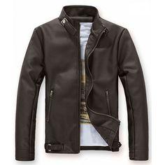 YUNY Men Plus Size Solid-Colored Faux Leather PU Premium Suit Blazer Brown M