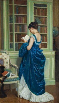 En la biblioteca Auguste Toulmouche (Francia, 1829 - 1890)