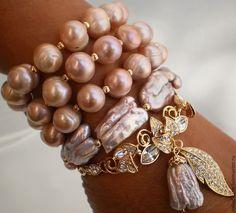 Купить ЖЕМЧУЖНОЕ БЛАЖЕНСТВО Нежнейший браслет с барочным жемчугом - кремовый, жемчужные украшения, авторские украшения