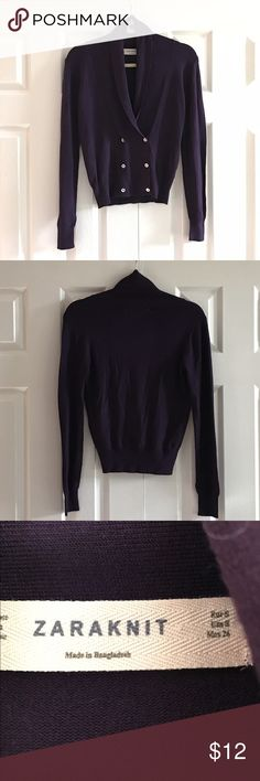 """Zaraknit dark purple cardigan Fabric is viscose and nylon. Machine wash cold water.  Color is dark purple. Sweater is double breasted with two rows of buttons. Photo 4 Armpit to armpit is 16"""". Shoulder to bottom hem is 21"""". No rips no stains Zara Sweaters Cardigans"""