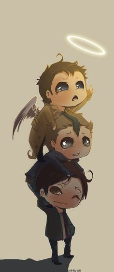 Chibi Sam, Dean, and Castiel. The Supernatural, Castiel, Supernatural Wallpaper, Supernatural Drawings, Supernatural Bloopers, Supernatural Pictures, Sam Winchester, Winchester Brothers, Mark Sheppard