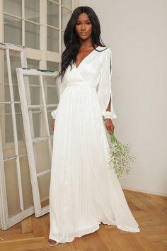 White Maxi Dress - Metallic Striped Maxi Dress - Long Sleeve Maxi - Lulus White Sundress Long, White Boho Dress, White Long Sleeve Dress, Long Sleeve Maxi, White Maxi Dresses, Maxi Dress With Sleeves, White Bridesmaid Dresses Long, White Floor Length Dress, Elegant Dresses