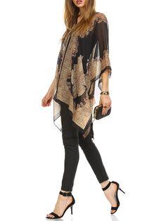 Shop Kimonos - Black Abstract Batwing Printed Kimono online. Discover unique designers fashion at StyleWe.com.