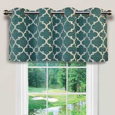 An elegant lattice pattern on this Spencer window valance is sure to liven up your room's decor.