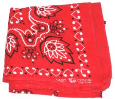 Vintage red bandana elephant mark trunk down fast color cotton by sweetalicelovesyou on Etsy