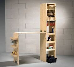Could adapt this for a folding breakfast bar with food storage~cereal, pop tarts, bread, toaster, coffee maker, etc. Complete workbench