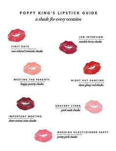 Lipstick guide. A color for every occasion!