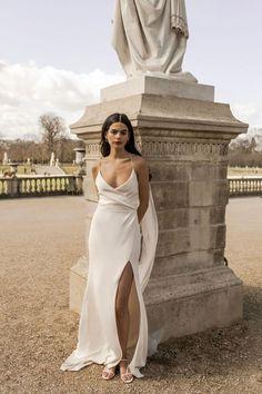 Arlia gown for the modern bride. Shot in Paris. Ethereal Wedding, Elegant Wedding Dress, Designer Wedding Dresses, Bridal Dresses, Wedding Gowns, Relaxed Wedding Dress, Australian Wedding Dress Designers, Australian Wedding Dresses, Bluebell Bridal
