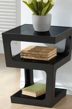 End Table with 3-Tiered Glass Shelves