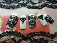 white and black lace nails  $9.99
