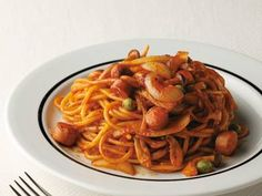 ナポリタン スパゲッティ   Napolitan Spaghetti  Tip-Stir ketchup, heat, stir BEFORE adding rice..  2013May