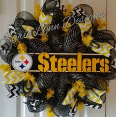 Hey, I found this really awesome Etsy listing at https://www.etsy.com/listing/199899313/pittsburg-steelers-wreath