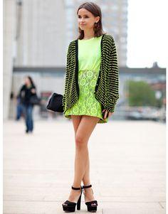 New York Fashion Week Street Style Spring 2012: Miroslava Dumas mixes neon lace with black