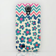 Happy Teal Vintage Daisies on Cream iPhone & iPod Case