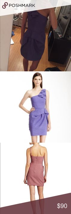 """BCBG """"Audrey"""" Purple One-Shoulder Dress Only worn a few times. Perfect condition.   From BCBG: A timeless silhouette and chic pleated details make this cocktail dress simply irresistible. * Asymmetrical neckline. Sleeveless. * Single strap with ruffle detail at left shoulder. Peplum and pleated detail at skirt. * Crepe: Polyester. * Dry Clean. * Imported. BCBG Dresses"""