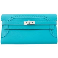Pre-owned Hermes Limited Edition Blue Atoll Ghillies Swift Kelly... (€5.285) ❤ liked on Polyvore featuring bags, wallets, handbags and purses, wallets and small accessories, hardware bag, preowned bags, pre owned bags, leather bags and real leather wallet
