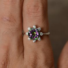 1213968b3 Mystic Topaz Ring Round Cut Engagement Ring Sterling Silver Promise Ring  Mystic Topaz