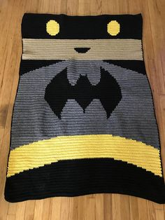 Crochet Batman afghan blanket graph pattern graphghan