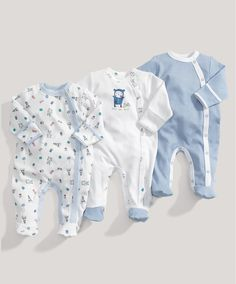 Boys 3 Pack of Blue All in Ones - Baby Boys Essentials - Mamas & Papas