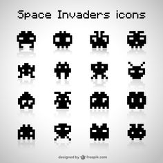 Black space invaders icons Free Vector