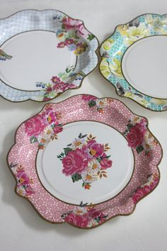 Sale 12 FLORAL TEA PARTY Large Paper Plates Parisian Vintage Style Shabby Chic Garden Tea Time Mint Green Pink Yellow Blue Rose French Paris