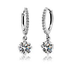 Cubic Zirconia Jewelry Earrings 8mm 2ct Round Swiss AAA CZ Hoop Earring $5.99