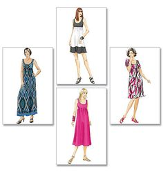 Dress in 4 lengths - 1 Hour Dress Sewing machine time only - Fabric Types: For Stretch Knits Only Such as Jersey • Cotton Knits • Poly Blend Knits; including border prints.