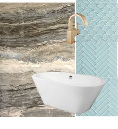 Bathroom inspired by the beauty of Banff, Alberta. Mountains and water - with antique brass fixtures and acqua glass mosaic tile.  #spabath Design by Second Wind Interior Design