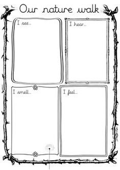 A basic worksheet to record and write down what you come across during a nature walk.This could be a walk around the school garden or a walk organised on a trip. This Worksheet was created to be used in our Topic on Sense and thus contains 4 boxes each for a different sense.I can see...