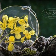 Náhrdelník  / Necklace / Collana   Krásny náhrdelník s príveskom zo živice. V živici sú zaliate kvety repky olejnej. Je zavesený na šlupni a retiazke farby platina. Retiazka je dlhá 70 cm a je bez zapínania, pretože sa...