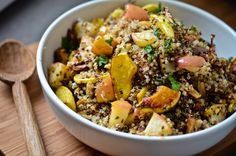 Quinoa with roasted mushrooms, squash and apples. WW 6p at 6 servings. Winter holiday foods.