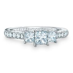 Celebration Grand® princess-cut diamond three stone ring in 14k white gold by Zales.